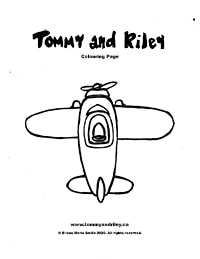 Tommy and Riley Colouring Page: Airplane