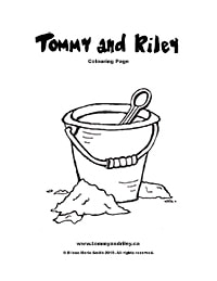 Tommy and Riley Colouring Page: Bucket and Sand
