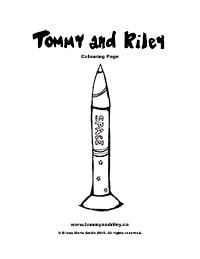 Tommy and Riley: Rocket Ship Colouring Page