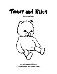 Tommy and Riley: Teddy Bear Colouring Page