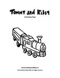 Tommy and Riley Colouring Page: Train