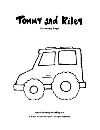 Tommy and Riley Colouring Page: Truck